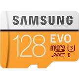 Samsung EVO microSDXC 128GB geheugenkaart Wit/oranje, MB-MP128GA/EU, Class10, incl. adapter