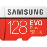 Samsung Evo Plus microSDXC 128 GB geheugenkaart Rood/wit, MB-MC128HA/EU, Class 10, Incl. Adapter