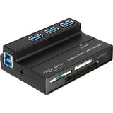 DeLOCK USB 3.0 Cardreader all in 1 + 3 Port USB 3.0 Hub kaartlezer Zwart
