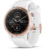 Garmin fenix 5S Plus Sapphire - rozegoud met witte band smartwatch Roségoud/wit, 42 mm