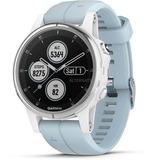 Garmin fenix 5S Plus - wit met seafoam band smartwatch Wit/lichtblauw, 42 mm