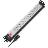 """Brennenstuhl Premium-Line 19"""" for cabinets 8x stekkerdoos Zwart/grijs, 1156057118, 19""""-Rack, voor 8 stekkers"""