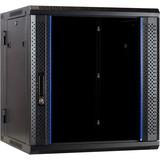 DSI 12U wandkast (kantelbaar) met glazen deur - DS6612-DOUBLE server rack Zwart, 600 x 600 x 635mm