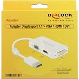 DeLOCK DisplayPort naar VGA/HDMI/DVI adapter Wit