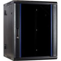 DSI 15U wandkast (kantelbaar) met glazen deur - DS6615-DOUBLE server rack Zwart, 600 x 600 x 770mm