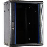 DSI 15U wandkast met glazen deur - DS6415 server rack Zwart, 600 x 450 x 770mm